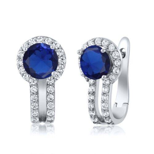 1.60 CT Bleu Simulé Saphir Blanc Créé Saphir Argent 925 Boucles D/'oreilles