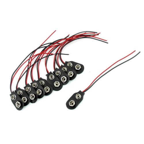 9 volts 10 Pcs Snap 9 V batterie clip connector I Type BLACK W Câble LW