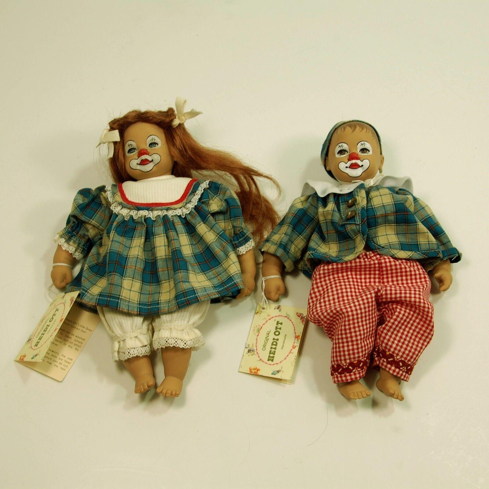 RARE Heidi Ott clown - handpainted set - boy &gGirl dolls - 8 1 2  tall