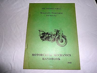 1943 Harley Davidson Motorcycle Army Mechanics Handbook