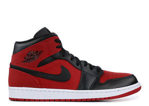 design intemporel 111f5 91a45 Details about Men's Nike Air Jordan 1 One Mid Gym Red-Black-White 554724  610 Brand New in Box