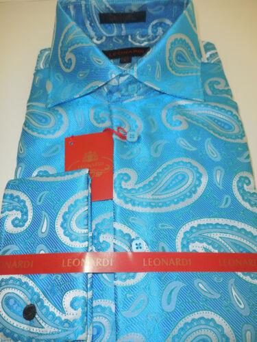 Mens Beautiful Turquoise Paisley Spread Collar Cuffed Leonardi Shirt Style 370