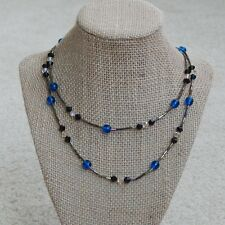 Handmade Swarovski crystal bicone and Czech glass beads strand long necklace