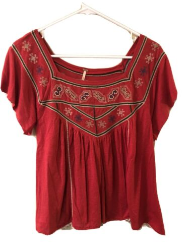 Free People Red Embroidered Boho Gypsy Top, size