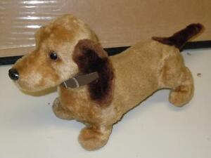 """10"""" Battery Operated Pull Back String Weiner Dog ton Toy Brown Rare Model VGC"""