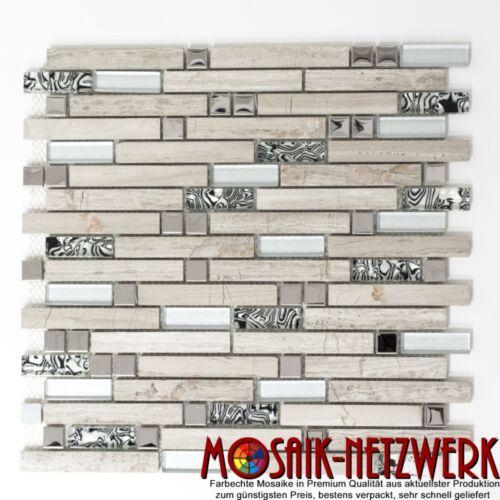 86-0108/_b Mosaik Fliese Glasmosaik Natursteinmosaik//Stahl mix weißes Holz Wand
