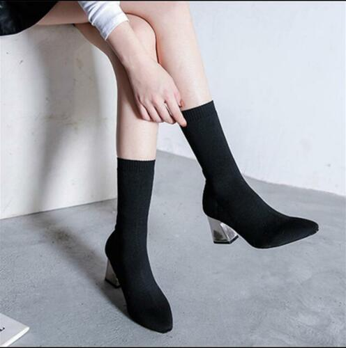 Women Stretch Block Heel Ankle Boots Shoes Pull On Knitting Pointed Toes Pumps