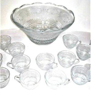 Vintage-Mid-Century-Modern-Glass-Punch-Bowl-Set-Cups-Party-Fleur-Lys-Sandwich