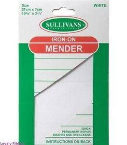 1 x WHITE SULLIVANS IRON ON MENDER , 27cm X 7cm, Sewing, Fix Tears, Free Post