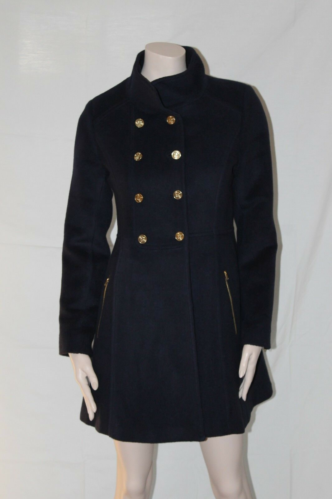 Women's fine baby alpaca military coat size L, bluee, new, peruvian made