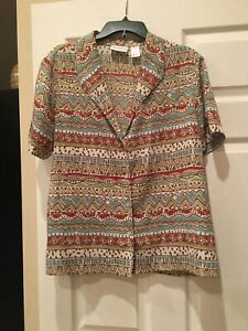 ALFRED-DUNNER-Woman-Blouse-Top-Sz-16-button-up-short-Sleeve-PolyesterGREATFABRIC