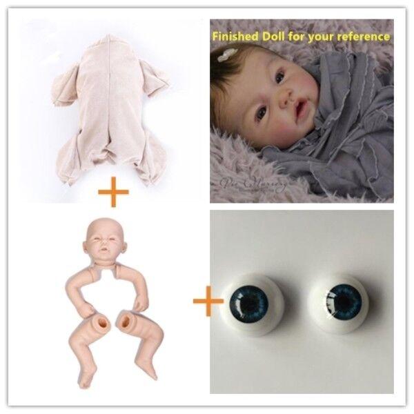 "DIY Unpainted Reborn Doll Kits Soft Vinyl Head 3//4 Limbs for Making 20-22/"" Baby"
