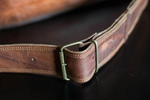"""17/"""" Large Men Real Leather Vintage Brown Messenger Shoulder Laptop Bag Briefcase"""