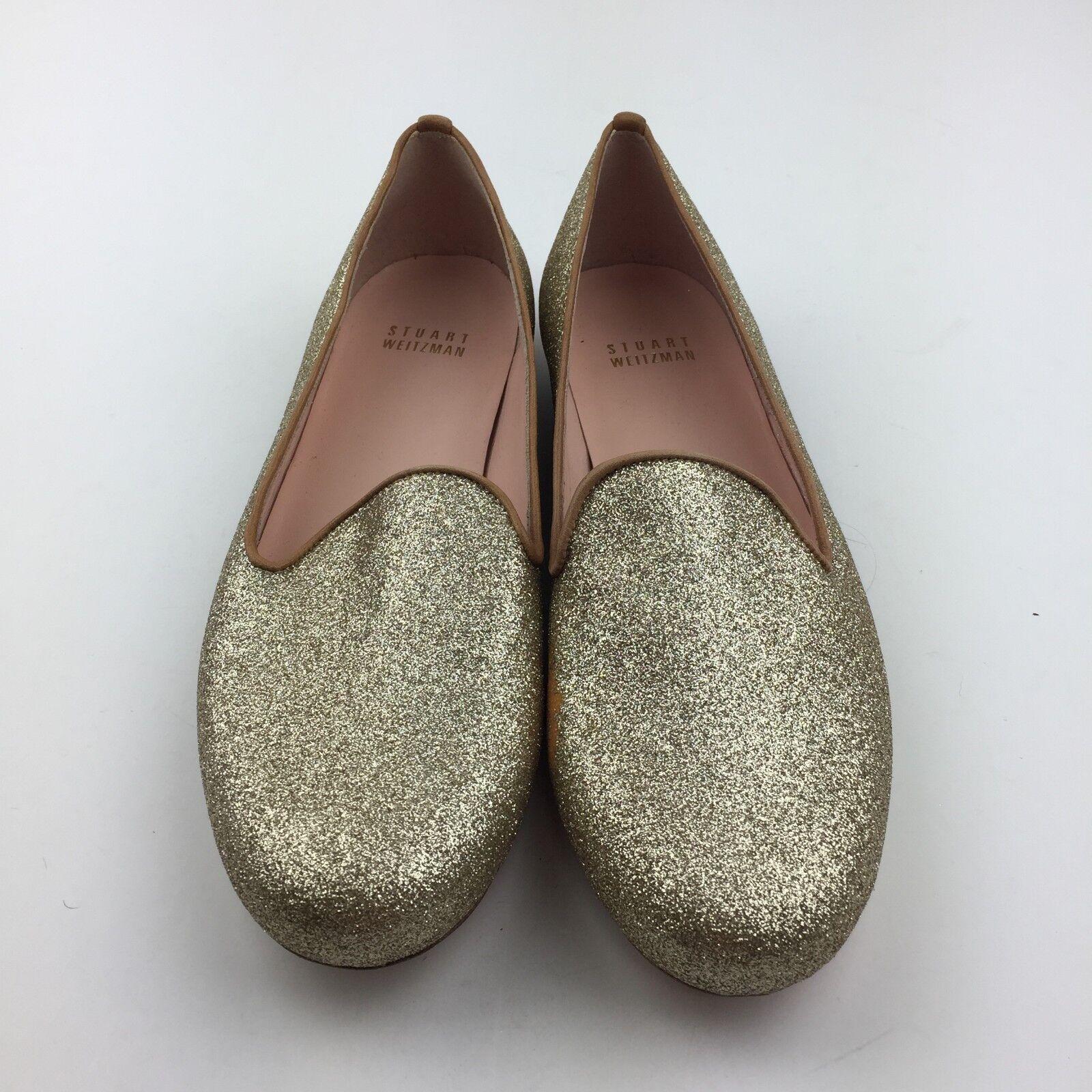 FLAW Stuart Weitzman Größe 6.5 Gold Glitter Slip On Flat Penny Loafers