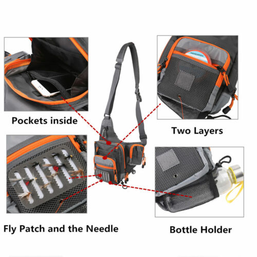 Freshwater Fishing Lure Tackle Bag Pack BackPack Crossbody Sling Bag