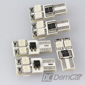 5x-LED-4-SMD-w5w-T10-Base-de-Verre-Eclairage-Interieur-Couleur-Bleu