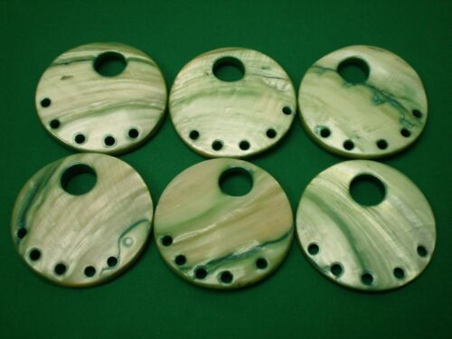 Large 45mm 70L Pale Green Shell Effect Round Donut Pendant Disc Bead Jewellery