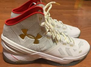 11d394e5c43 Under Armour UA Curry 2 All Star Mens Size 14 White Gold Red 1259007 ...