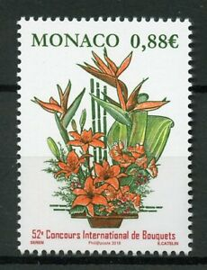 Monaco-2019-MNH-International-Bouquet-Competition-1v-Set-Flowers-Plants-Stamps