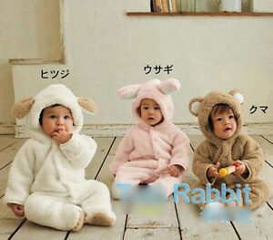 Winter Animal Onesie Fleece Coat For Boy Girl Baby Clothes Bear Pig