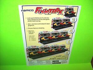 Namco FOUR TRAX Original NOS 1989 Video Arcade Game Promo Flyer Rare UK Version