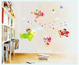 Details zu Wandtattoo Flugzeug fliegen Kinderzimmer Junge Mädchen Spiel  Aufkleber Sticker