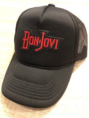 Bon Jovi Trucker Hat Embroidered Patch Cap Music Rock Band Mesh Black Retro