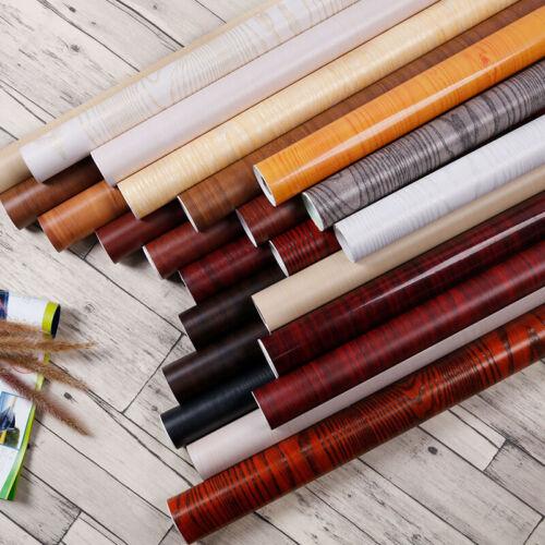 Furniture Wood Grain Stickers Self Adhesive PVC Desk Door Wallpaper Decorative