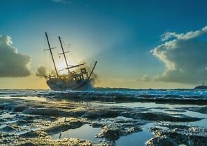A1-Ship-In-The-Sea-Poster-Art-Print-60-x-90cm-180gsm-Scenery-Pirate-Gift-14547