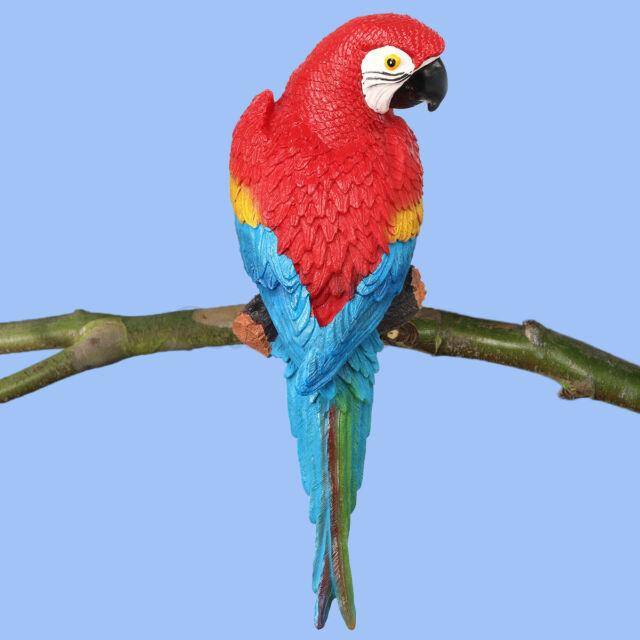 2Pcs Large Lifelike Bird Figurine Orange Parrot Statue Garden Ornament