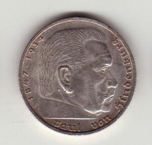 5 Mark Reichsmark 1935 F Paul De Hindenburg Deutsches Reich Argent