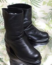 MARTINO BLACK LEATHER SLOUCH FASHION WINTER ANKLE BOOTS SHOES WOMENS SZ 7 EE