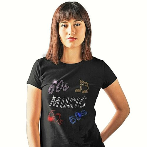 Size 6 TO 16 SIXTIES 1960s Music Ladies Fitted T Shirt With Rhinestud Design