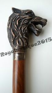 Collectibles Antique Replica Wolf Handle Wooden Walking Stick Cane Nautical Gift
