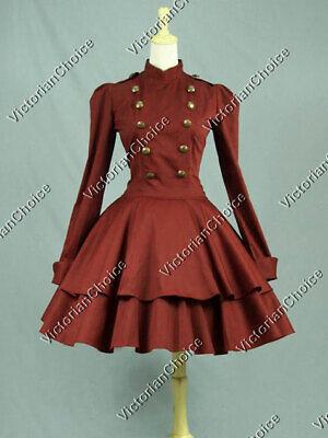 Victorian Raspberry Lolita Theater Cosplay Military Mad Hatter Coat Dress C022