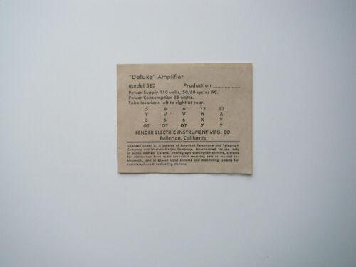 Production Tube chart 50/'s  Deluxe Model 5E3..