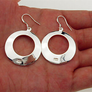 925-Sterling-Silver-Plate-Lady-Fashion-Hoop-Dangle-Earring-Round-Jewelry-Eardrop