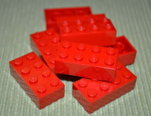 8 2x4 Red Standard Bricks ~ Lego ~ NEW ~ Castle
