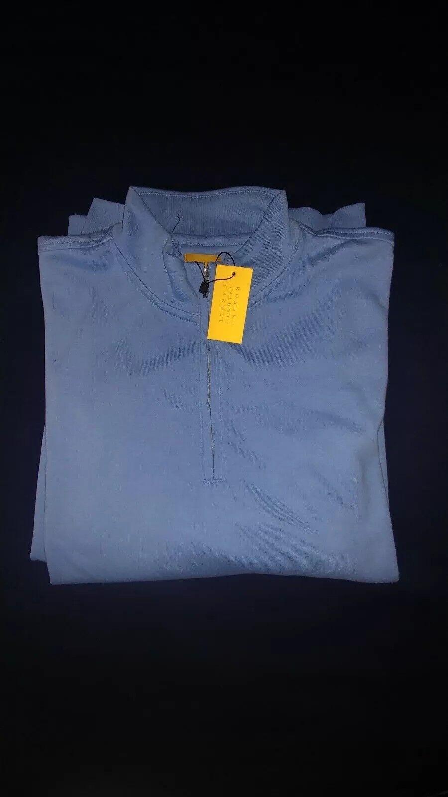 145 145 145 NWT Robert Talbott Carmel  Herren Blau 1/4 Zip Sweater 100% Pima Cotton Sz L 84b686
