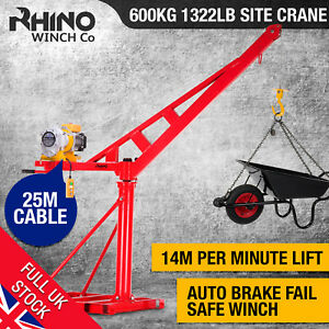 Electric Jib Crane - 600Kg / 1322lb Lifting Hoist, 240V Heavy Duty ~ Rhino   5060569761212