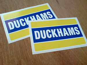 DUCKHAMS-Motor-Oil-Classic-Retro-Race-Rally-Car-Stickers-Decals-150mm-2-off