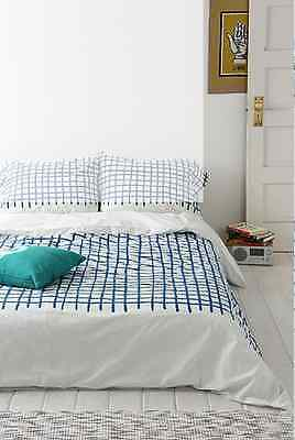 Urban Outfitters Assembly Home Hand-Drawn Grid Duvet Cover Full/Queen Blue
