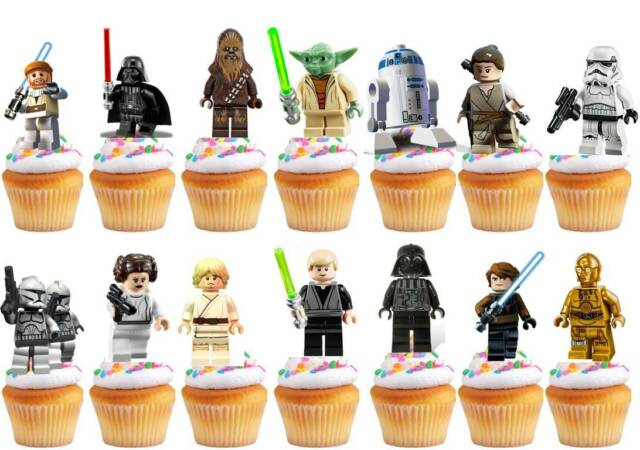 30 x Star Wars Party Edible Rice Wafer Paper Cupcake Toppers