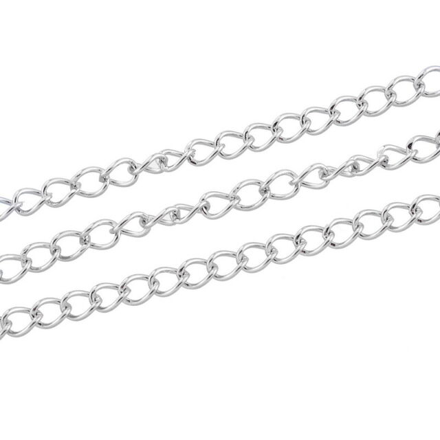 2M Stainless Steel Thin Chain Silver Tone 4mmx3mm