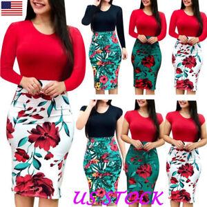 Plus-Size-Ladies-Short-Long-Sleeve-Floral-Boho-Women-Party-Bodycon-Maxi-Dress-US