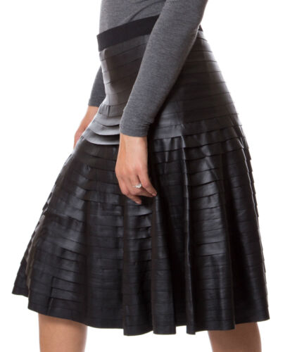 New Womens Ruffled Layered Leather Skirt Long Evening Wear Ball Gown Pleated