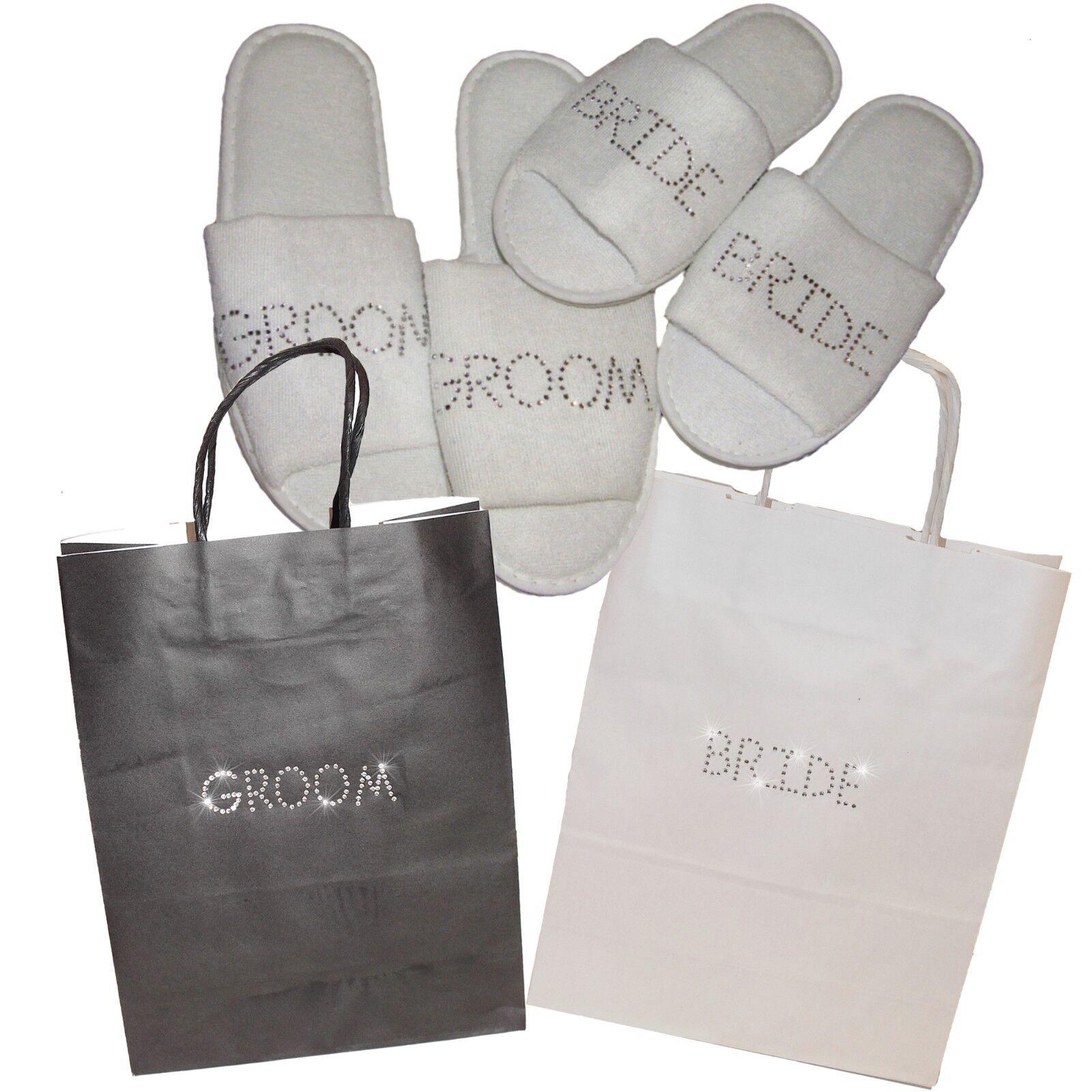 Gift Bag & Slippers Bride & Groom - Personalised Rhinestone Wedding honeymoon