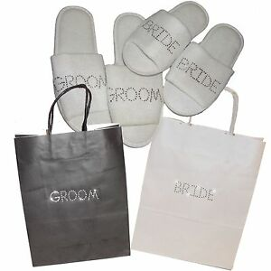 00fcc0a8ce0f53 Gift Bag   Slippers Bride   Groom - Personalised Rhinestone Wedding ...