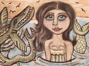 Mermaid and Mosasaurus Pop Art Print 8 x 10 Signed by KSams Sea Dinosaur Water