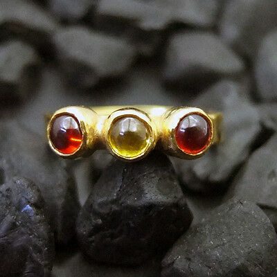 Amicable Handmade Hammered Band Tria Garnet & Citrin Ring 22k Gold Over Sterling Silver Jewelry & Watches